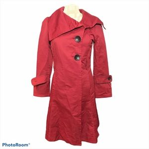 Soia & Kyo Long Asymmetrical Trench Coat Red Small